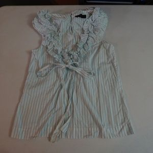 Worth Size 4 Striped Cotton Ruffled Blouse